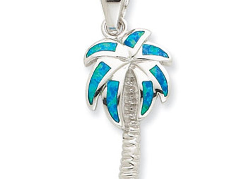 Sterling Silver Created Blue Opal Inlay Palm Tree