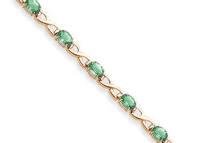 14k 7x5mm Oval Emerald Bracelet
