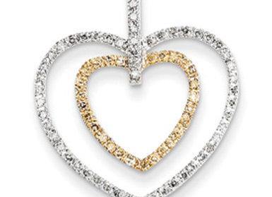 14k Yellow & White Gold Diamond Heart Pendant