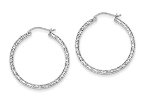 Sterling Silver Rhodium Plated D/C 2x30mm Hoop