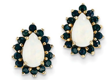 14k Yellow Gold Opal And Sapphire Post Earrings