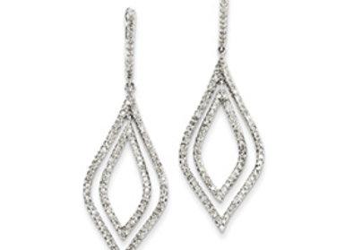 14k White Gold Diamond Teardrop Hinged Dangle