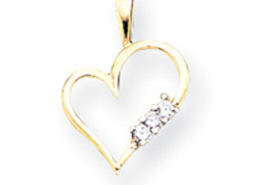 14k A Diamond Heart Pendant