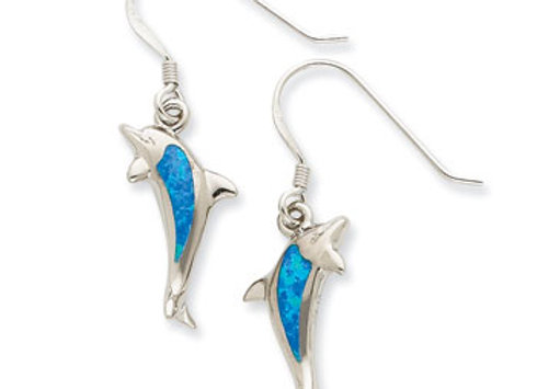 Sterling Silver Created Blue Opal Inlay Dolphin