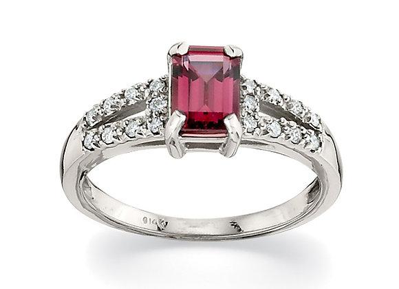 Diamond and Rhodium Garnet Ring