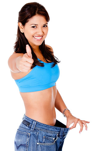 Woman in baggy pants with thumbs up - is
