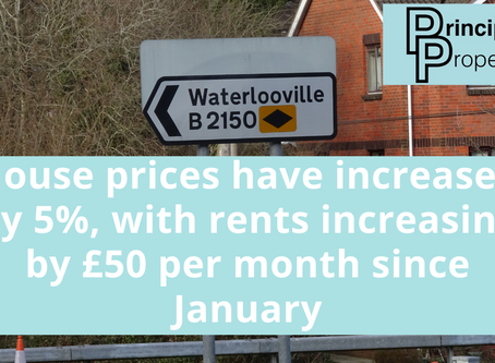 Waterlooville house prices have increased by 5% with rents increasing by £50 per month since January