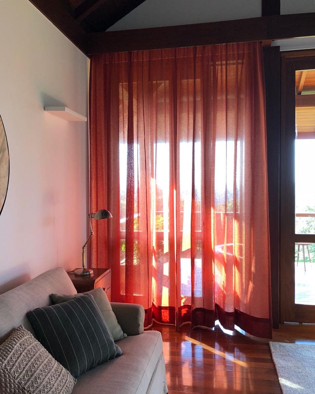 quarto, cortina, tecido, marsala