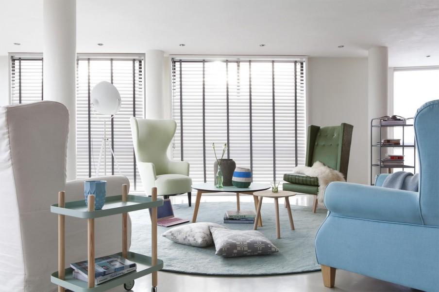 persiana de aluminio, lamina larga, sala