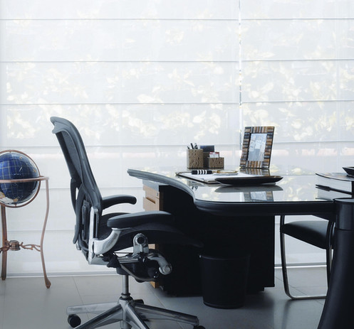cortina romana, tela solar, home office