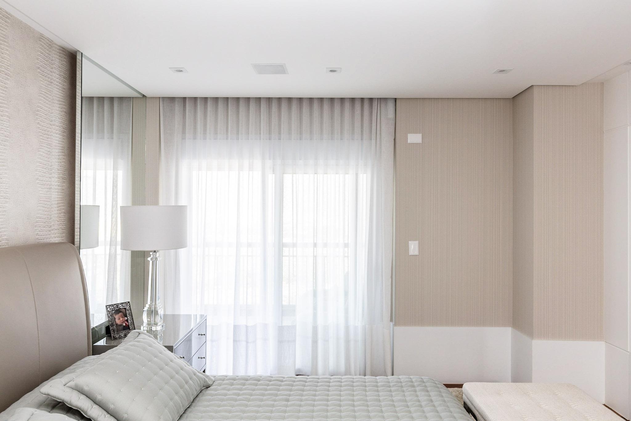 quarto, cortina, tecido, branca, qua