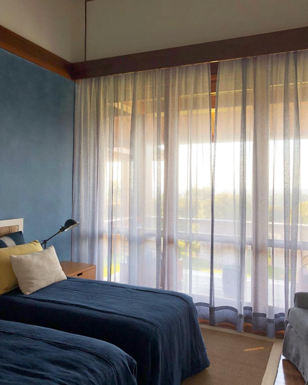 quarto, cortina, tecido, azul