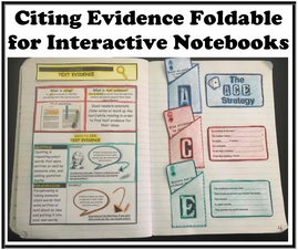 Citing Evidence Foldable for Interactive Notebooks