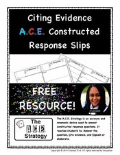 FREE! Citing Evidence - A.C.E. Constructed Response Slips
