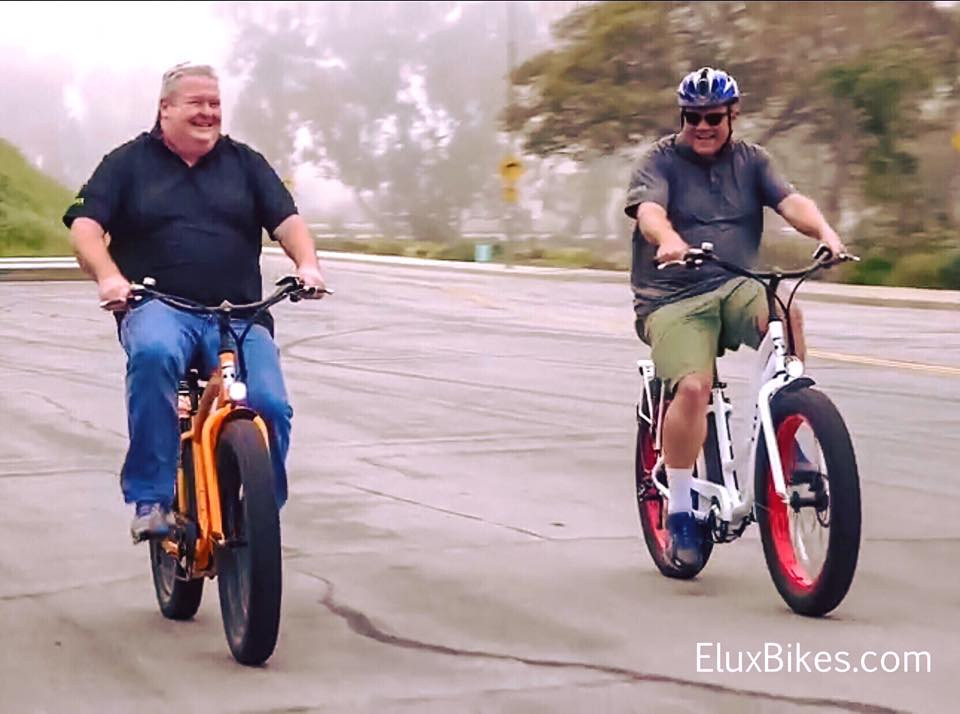 Seniors riding electric bikes