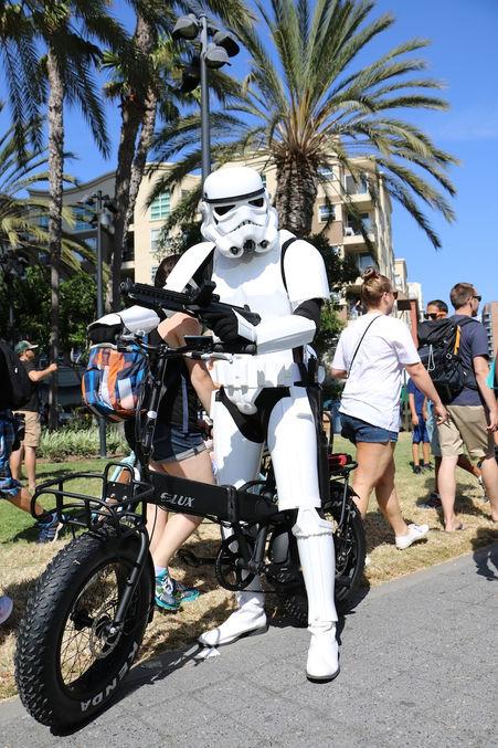 Storm Trooper on a Sierra Folding Electric Bike