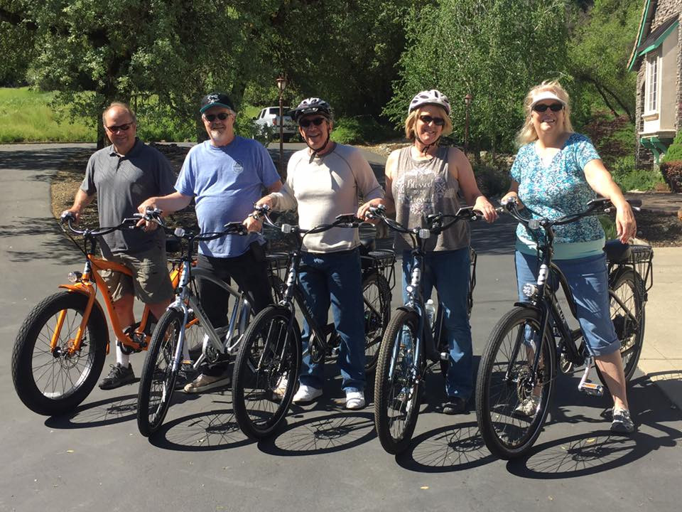 bike riding elderly on electric bicycles