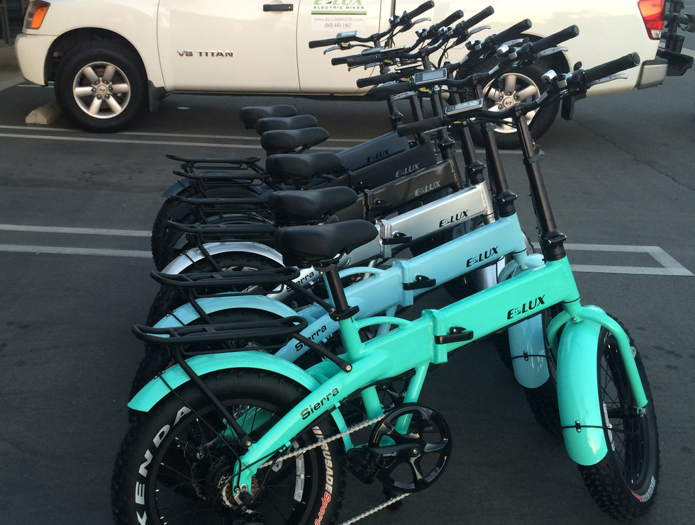 Sierra Electric Folding Bikes in black, blue, silver, aqua