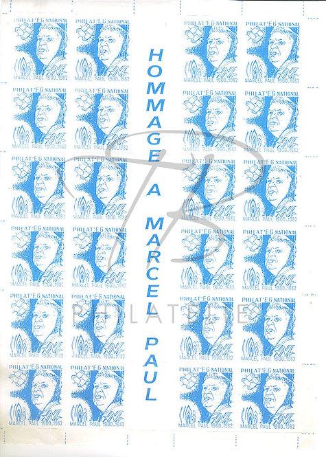 Hommage à Marcel Paul , feuille de 24 vignettes