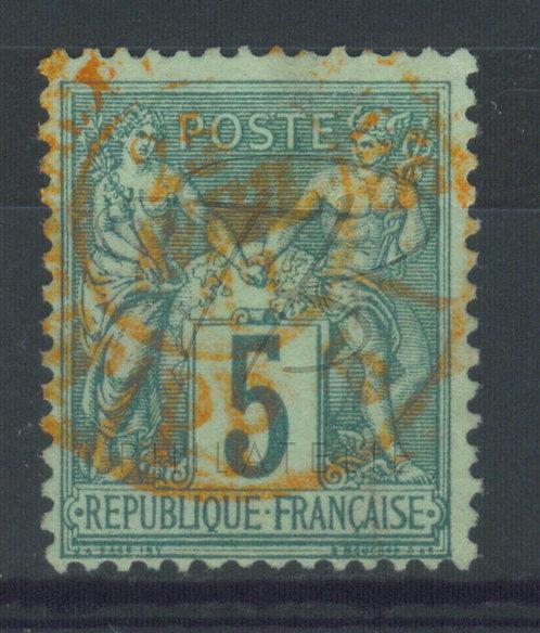 """France n°75, cachet rouge des journaux """"PP5"""" (b)"""