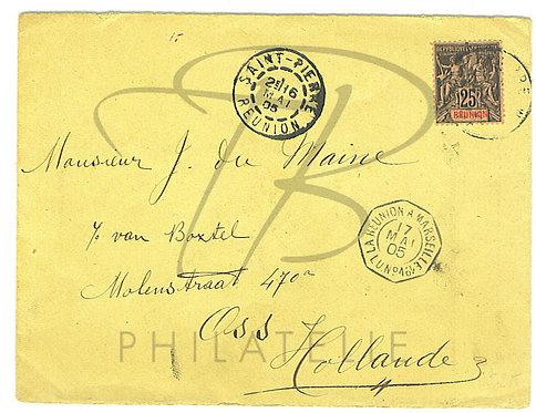 Réunion n°39 seul sur lettre,St-Pierre à Amsterdam