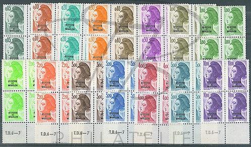 S.P.M. n°455-469 en blocs de 4 + BDF , **
