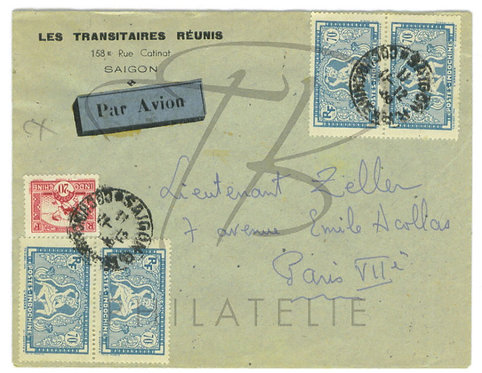 Indochine n°163+218x2 paires , sur lettre