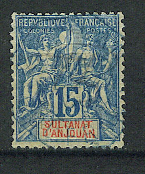 Anjouan n°6 , cachet bleu