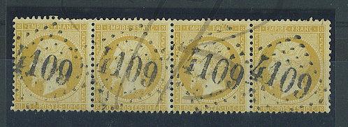 France n°21 bande de 4, G.C. 4109:Vassy près Vire