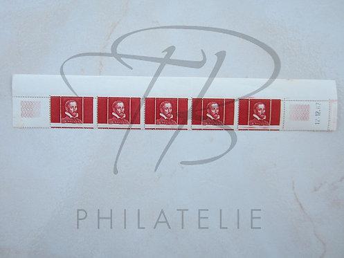 France Palissy n°P28 rouge en bande de 5+B.D.F.,**