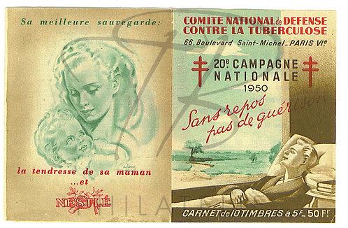 Carnet antituberculeux 1950+reproduction+enveloppe