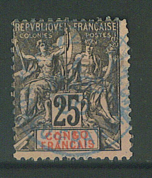 "Congo n°19 , cachet bleu ""BRAZZAVILLE"" , (b)"