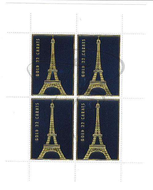 Bloc de 4 vignettes Tour Eiffel , Or 22 carats