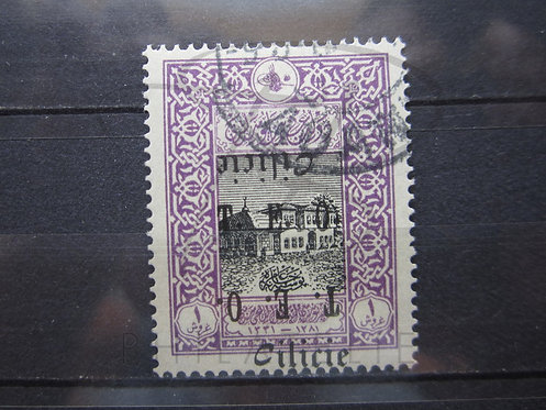 "TIMBRE DE CILICIE N° 71 , SURCHARGE DOUBLEE DONT 1 RENVERSEE , CACHET "" ADANA """