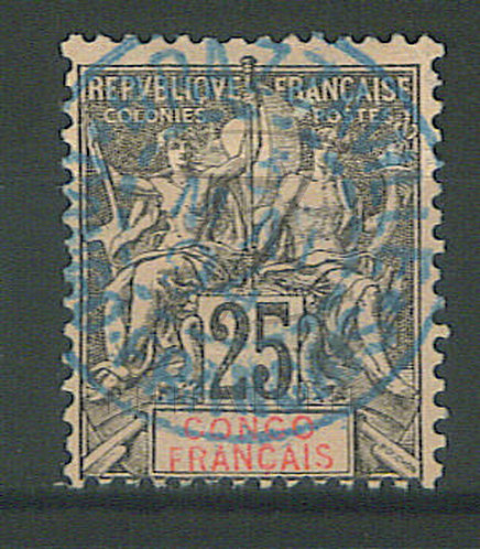 """Congo n°19 , cachet bleu """"BRAZZAVILLE"""" , (a)"""