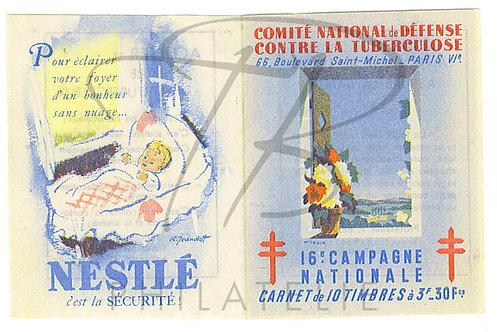 Carnet antituberculeux 1946+reproduction+enveloppe