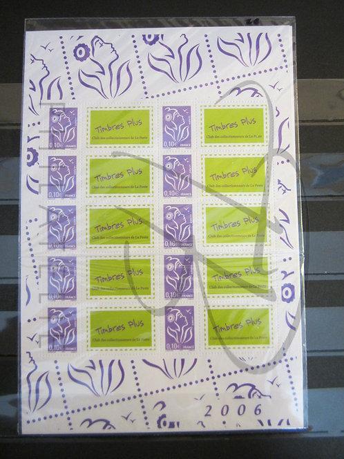 N°3916A en feuille sous blister, avec vignettes personnalisées, **