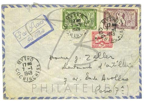 Indochine n°163+168+169 , sur lettre
