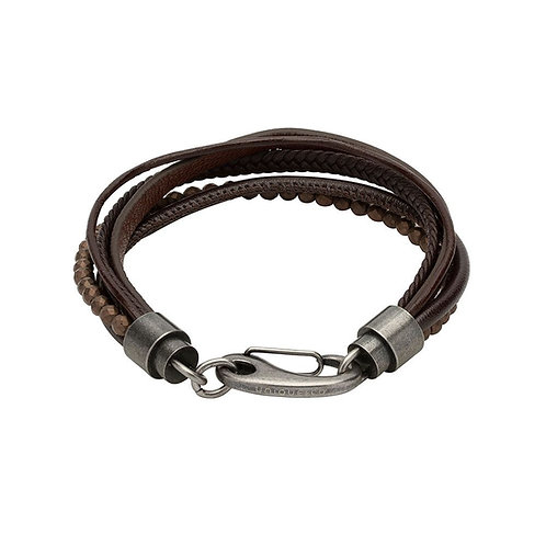 Unique & Co Mens Leather Bracelet, B406DB.