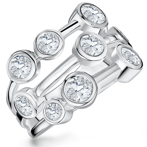 Jools CZ Platinum Plated Sterling Silver Ring KPR10610