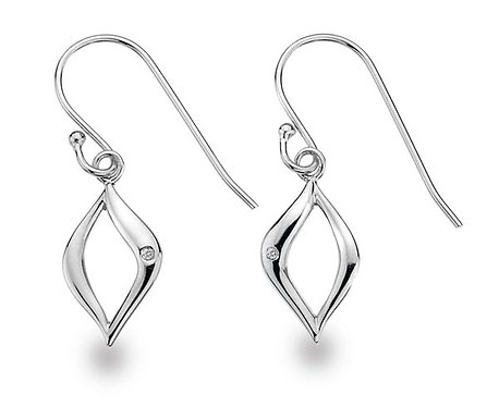 White Ice Sterling Silver Diamond Drop Earrings DE314