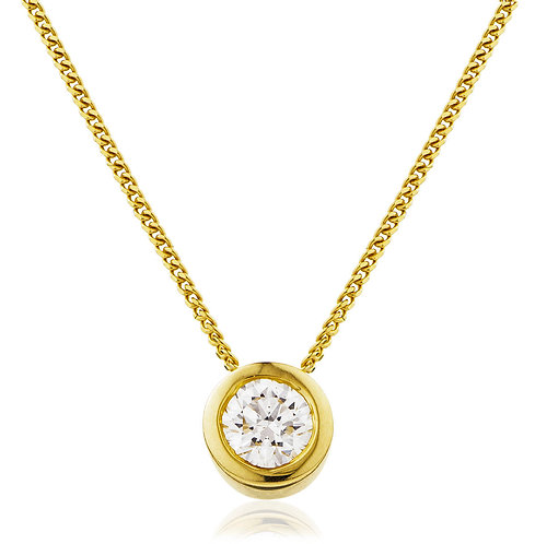 Diamond Rubover Set Solitaire Pendant, 18 Yellow Gold 0.40cts.