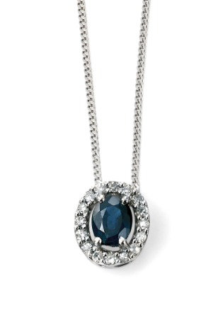Sapphire & Diamond Pendant 9ct White Gold, GP928L.