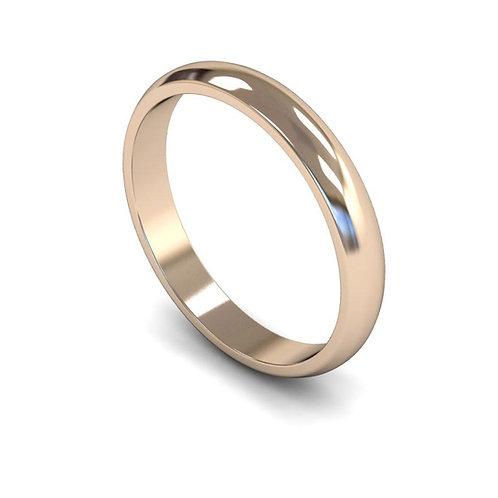 9ct Gold D-Shape 3mm Wedding Bands, WDL 3mm.