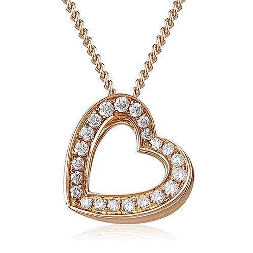 Diamond 3D Heart Pendant 0.20, 18ct Rose Gold.