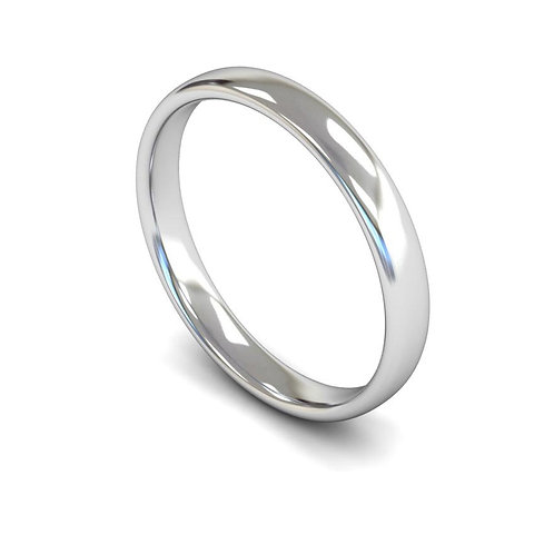 18ct Gold Slight Court 3mm Wedding Bands, WBL 3mm