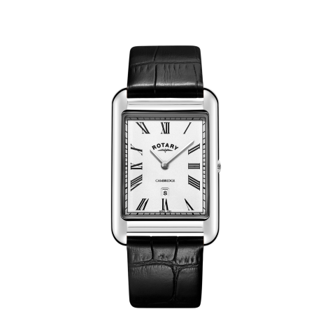 Rotary Steel Rectangular Cambridge Watch, GS05280/01.