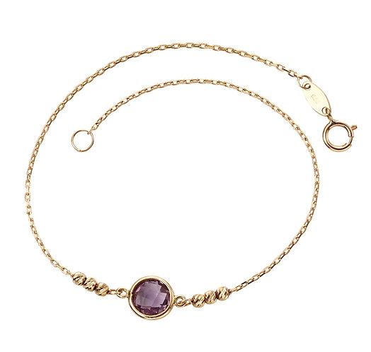 Ladies Amethyst 9ct Yellow Gold Bracelet, GB434M