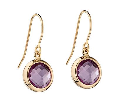 Ladies Amethyst 9ct Yellow gold Drop Earrings GE2155M.