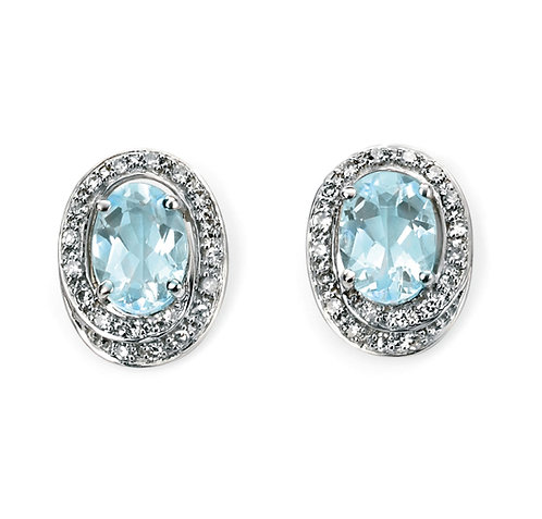 Aquamarine and Diamond Stud Earrings 9ct White Gold, GE658T.